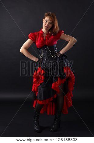 Woman In Black Corset