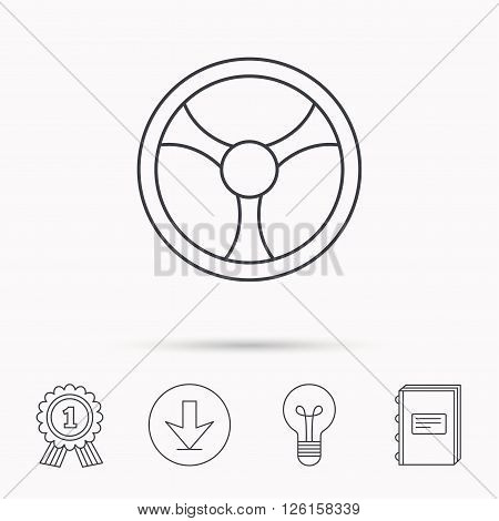 Steering wheel icon. Car drive control sign. Download arrow, lamp, learn book and award medal icons.