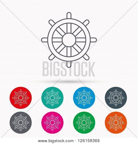 Ship steering wheel icon. Captain rudder sign. Sailing symbol. Linear icons in circles on white background.