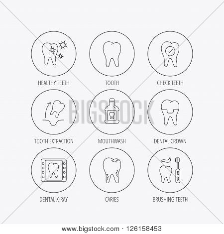 Tooth, dental crown and mouthwash icons. Caries, tooth extraction and hygiene linear signs. Brushing teeth flat line icon. Linear colored in circle edge icons.