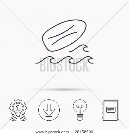 Surfboard icon. Surfing waves sign. Download arrow, lamp, learn book and award medal icons.