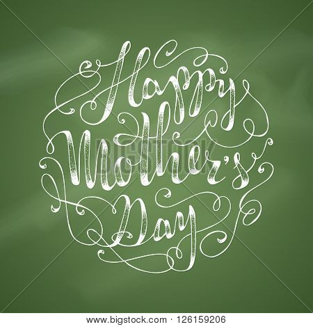 Happy Mother's Day! Hand-written lettering. Vector hand-drawn typographical background.