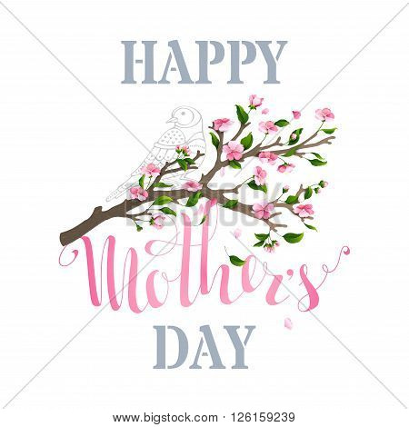 Happy Mother's Day! Vector typographical background with spring cherry blooms and leaves isolated on white background. Falling petals.