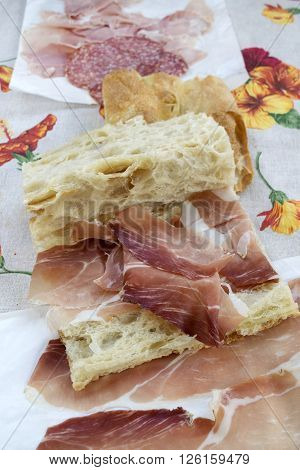 focaccia filled with serrano jamoncured ham as break lunch