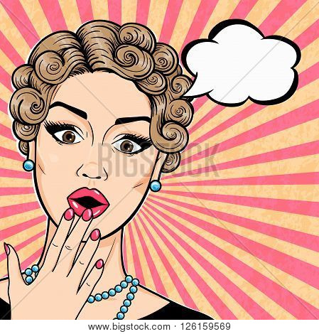 Vector Pop art retro woman shocked face with open mouth and thought bubble comic sketch style