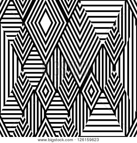 Vector Black And White Ethnic Seamless Pattern With Striped Rhombus.