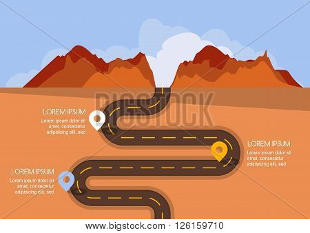Road With Markers, Vector Infographics Template.