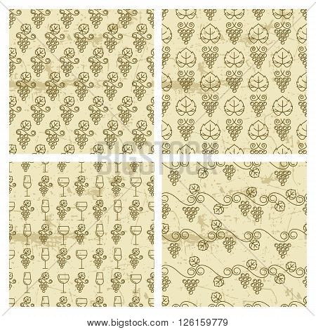 Set Of Vector Seamless Vintage Pattern With Outline Vine Grapes And Wine Glass.