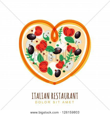 Hand Drawn Illustration Of Italian Pizza In Heart Shape.