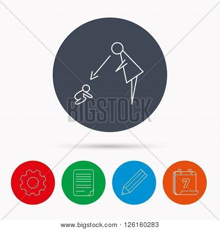 Under nanny supervision icon. Babysitting care sign. Mother watching baby symbol. Calendar, cogwheel, document file and pencil icons.