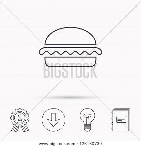 Vegetarian burger icon. Healthy fast food sign. Burger symbol. Download arrow, lamp, learn book and award medal icons.