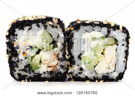 Homemade sushi rolls with black tobiko cucumber and cream cheese isolated closeup