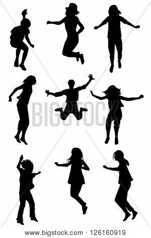Set of children silhouettes jumping on white background