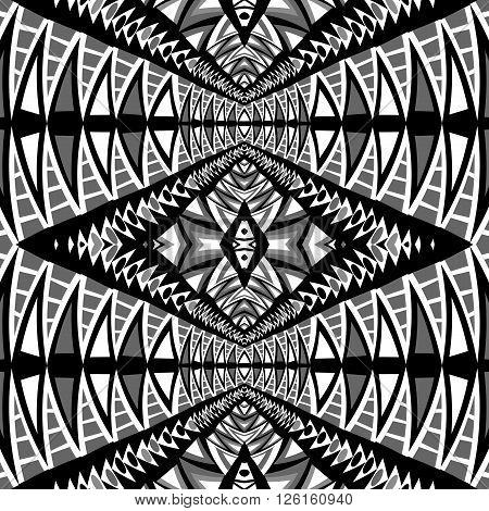 Black and white seamless background with ethnic motifs