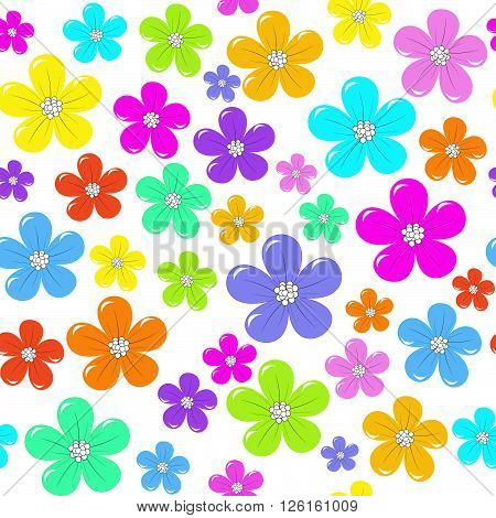 Floral seamless background with colorful flowers on white