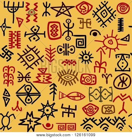 Abstract background with hand drawn ethnic symbols