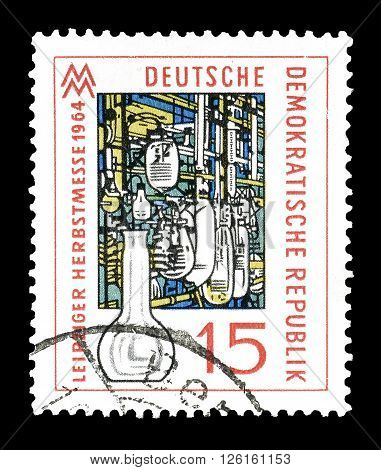 GERMAN DEMOCRATIC REPUBLIC - CIRCA 1964 : Cancelled postage stamp printed by German Democratic Republic, that shows  Modern glass Armature.