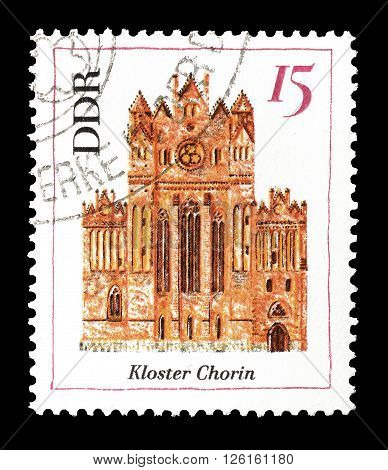 GERMAN DEMOCRATIC REPUBLIC - CIRCA 1967 : Cancelled postage stamp printed by German Democratic Republic, that shows Monastery Chorin.