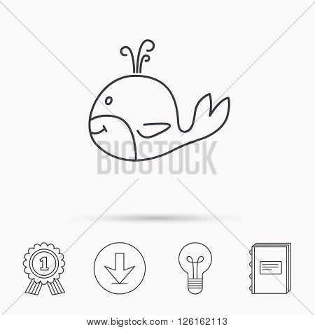Whale icon. Largest mammal animal sign. Baleen whale with fountain symbol. Download arrow, lamp, learn book and award medal icons.