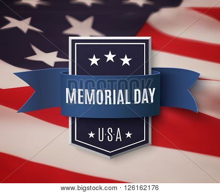 Memorial Day background template. Badge with blue ribbon on top of American flag. Vector illustration.