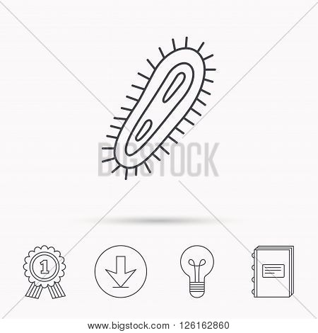 Bacteria icon. Medicine infection symbol. Bacterium or microbe sign. Download arrow, lamp, learn book and award medal icons.
