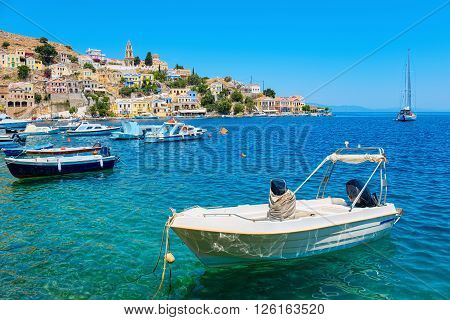 Fishing boats at the harbour of Symi. Dodecanese Islands Greece Europe