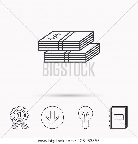 Cash icon. Dollar money sign. USD currency symbol. 2 wads of money. Download arrow, lamp, learn book and award medal icons.