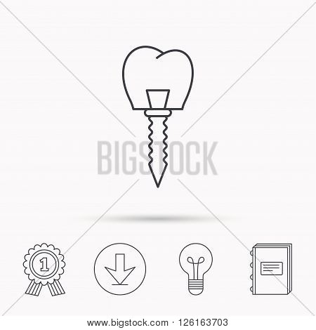 Dental implant icon. Oral prosthesis sign. Download arrow, lamp, learn book and award medal icons.