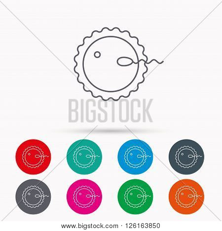 Fertilization icon. Pregnancy sign. Spermatozoid and egg symbol. Linear icons in circles on white background.