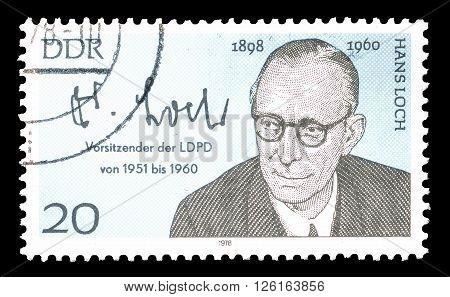 GERMAN DEMOCRATIC REPUBLIC - CIRCA 1978 : Cancelled postage stamp printed by German Democratic Republic, that shows Hans Loch.