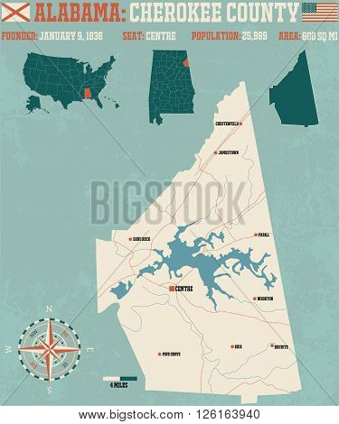 Large and detailed map and infos about Cherokee County in Alabama.
