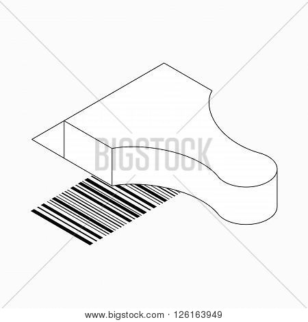 Barcode scanner icon in isometric 3d style isolated on white background
