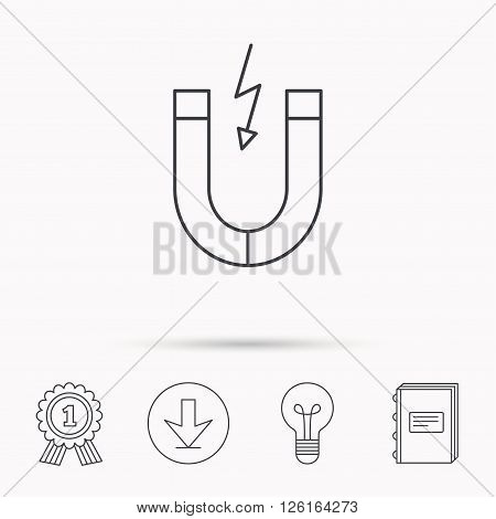 Magnet icon. Magnetic power sign. Physics symbol. Download arrow, lamp, learn book and award medal icons.