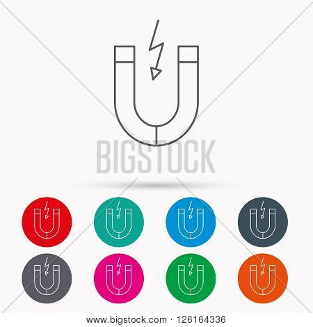 Magnet icon. Magnetic power sign. Physics symbol. Linear icons in circles on white background.