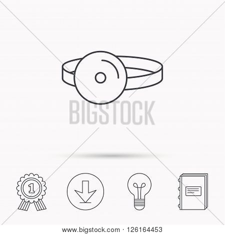 Medical mirror icon. ORL medicine sign. Otorhinolaryngology diagnosis tool symbol. Download arrow, lamp, learn book and award medal icons.