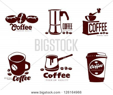 Coffee logos, vector simple coffee symbols Set of coffee symbols on a white background for coffee or restaurants, mug, coffee beans, a Turk, a coffee grinder, a glass, a set of elements