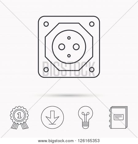 European socket icon. Electricity power adapter sign. Download arrow, lamp, learn book and award medal icons.