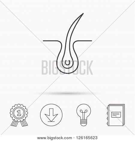 Trichology skin icon. Dermatology hair sign. Download arrow, lamp, learn book and award medal icons.