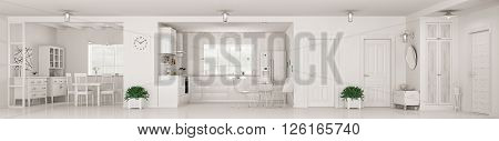 Modern Interior Of White Apartment Panorama 3D Rendering