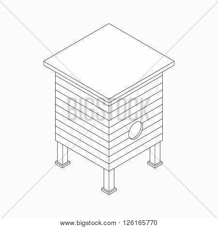 Beehive with honey bees icon in isometric 3d style isolated on white background
