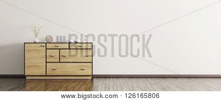 Modern Interior With Wooden Dresser Panorama 3D Rendering