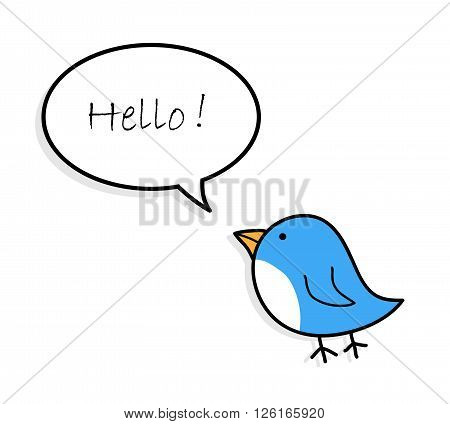 Blue Bird Greetings, a hand drawn vector illustration of a cute blue bird with greeting text.