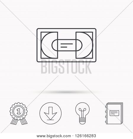 Video cassette icon. VHS tape sign. Download arrow, lamp, learn book and award medal icons.