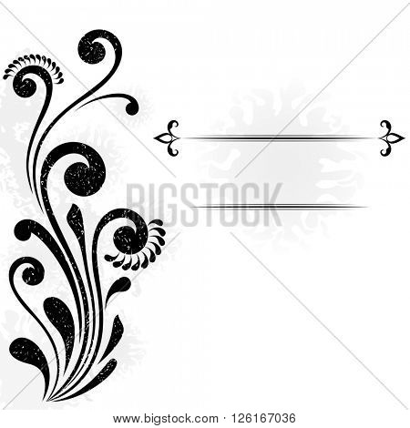 Abstract background with floral design element and copy space.