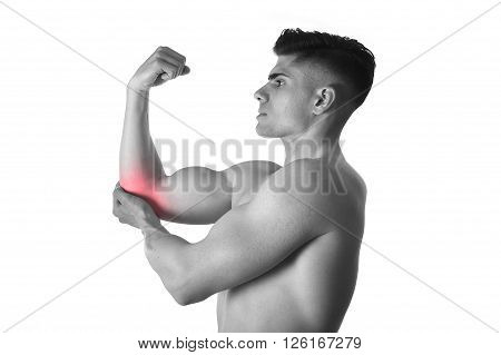 muscular body man holding elbow sore in pain with his hand in body health care and sport medicine concept isolated on white background