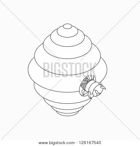Hanging beehive with bee icon in isometric 3d style isolated on white background