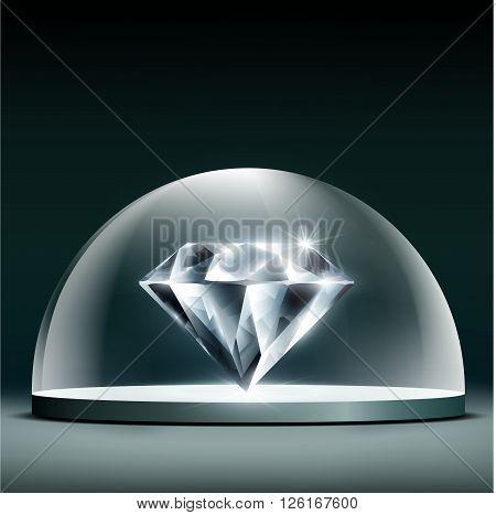 Gem diamond cover glass dome. Stock vector illustration.