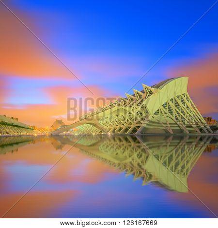 Valencia, Spain - circa July 2014: Modern european architecture and museum circa July 2014 in Valencia, Spain