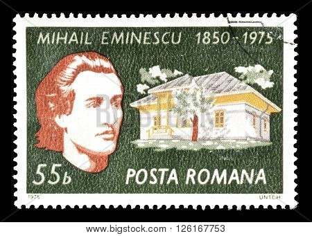 ROMANIA - CIRCA 1975 : Cancelled postage stamp printed by Romania, that shows Mihail Eminescu.