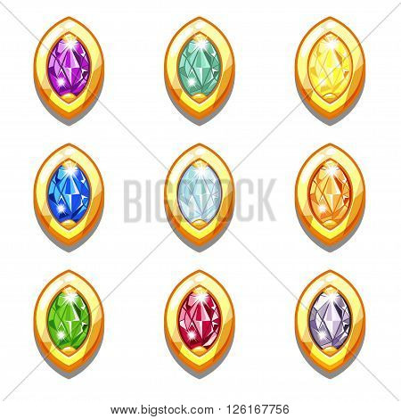 Vector colorful golden amulets with diamonds, oval shape